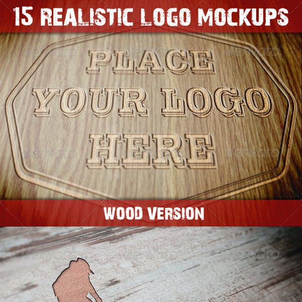 15 Photorealistic Logo Mockups (Wood Version)