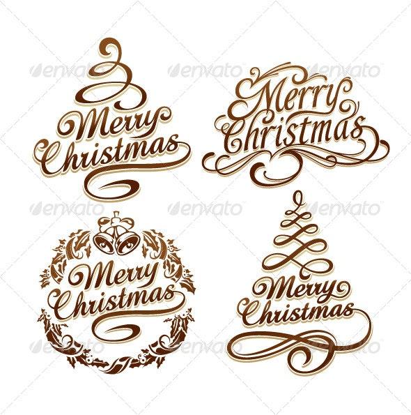 Christmas Typography Set - Christmas Seasons/Holidays