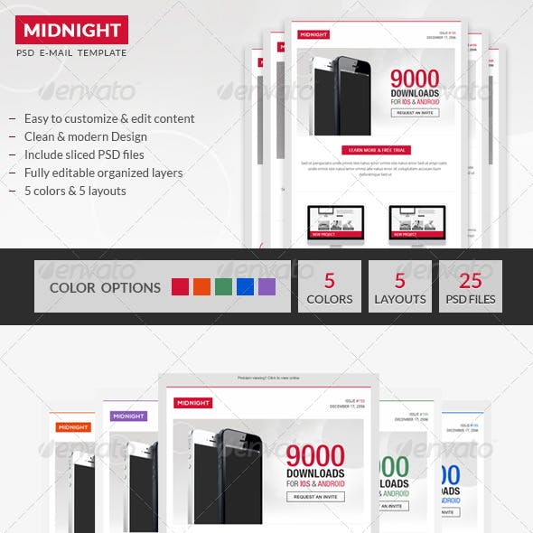Midnight - Premium Business PSD Email Template