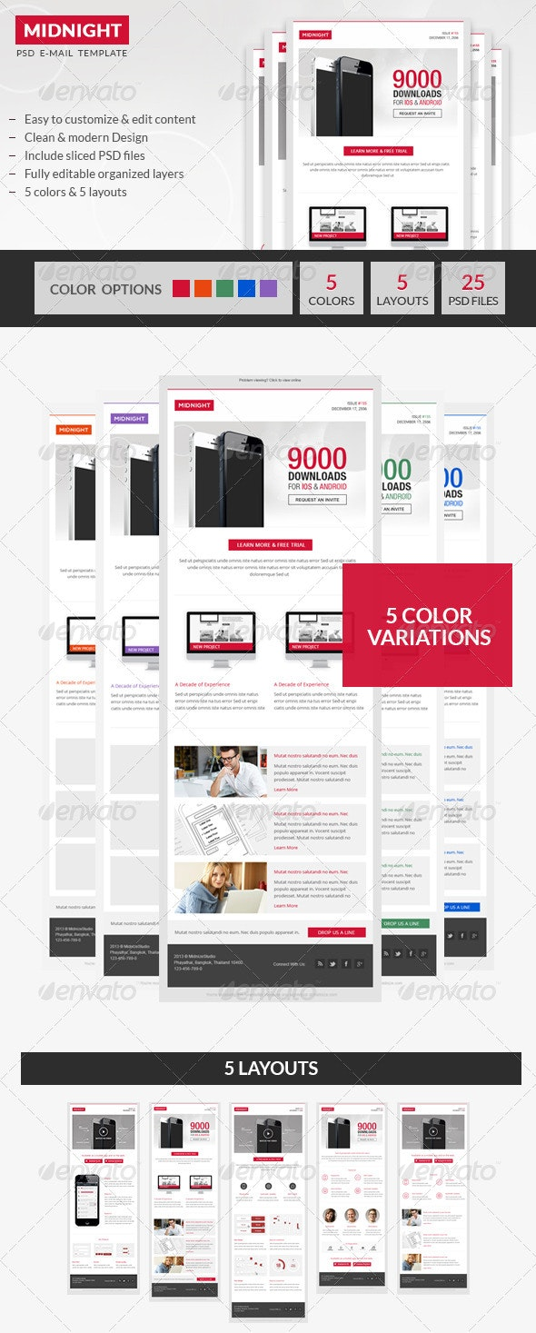 Midnight - Premium Business PSD Email Template - E-newsletters Web Elements