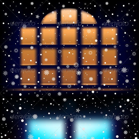 Snow Night Window