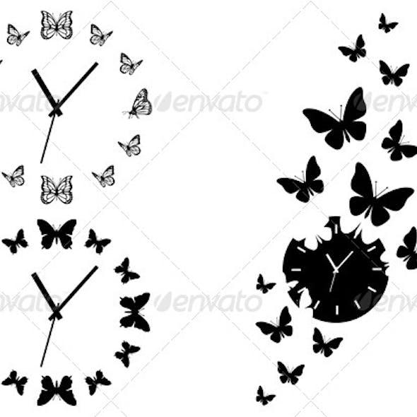 Time Flies, Butterfly Clocks, Vector Set