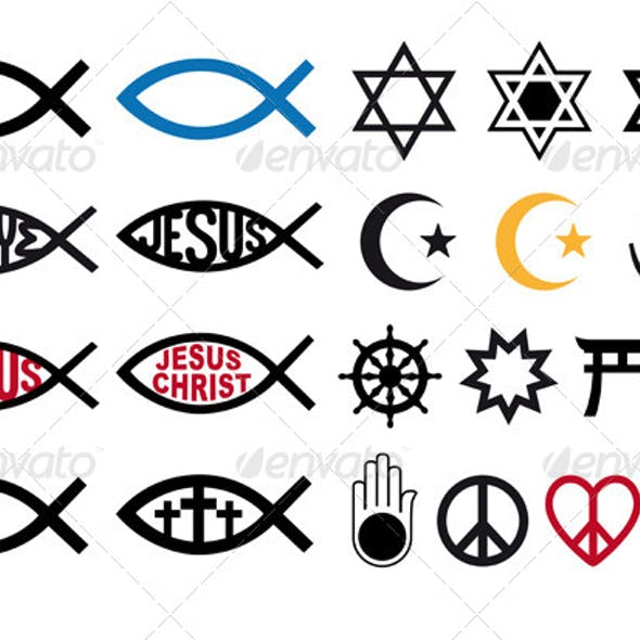 Religious Symbols, Religion Signs, Vector Set