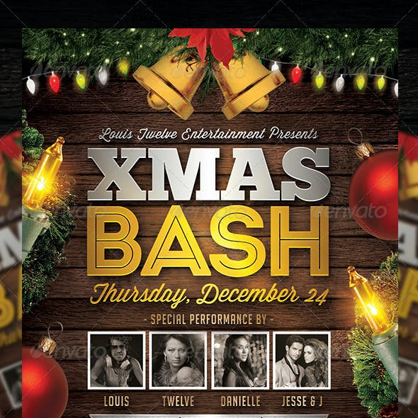 Christmas Bash 4   Flyer + FB Cover