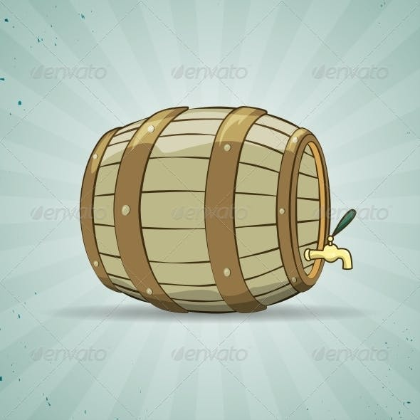 Wooden Barrel filled with Beer or Wine