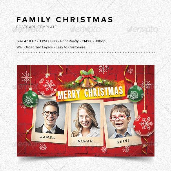 Family Christmas Postcard Template