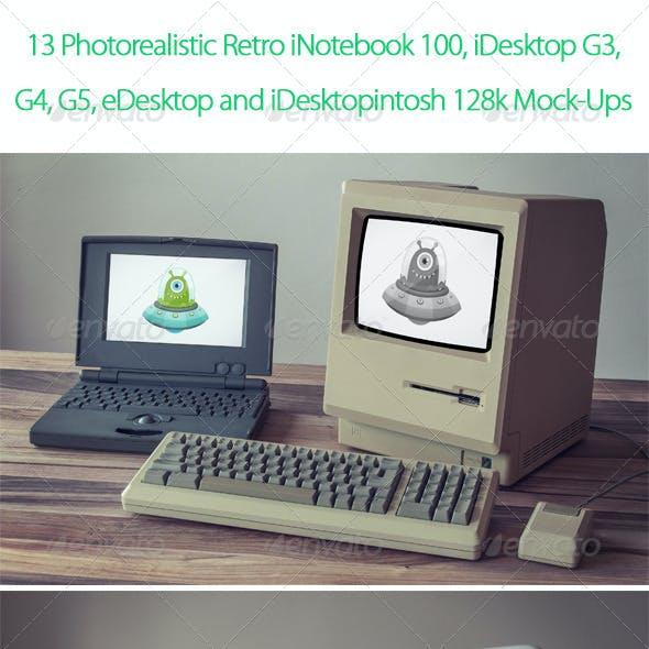 13 Retro Desktop and Notebook Mock-Up