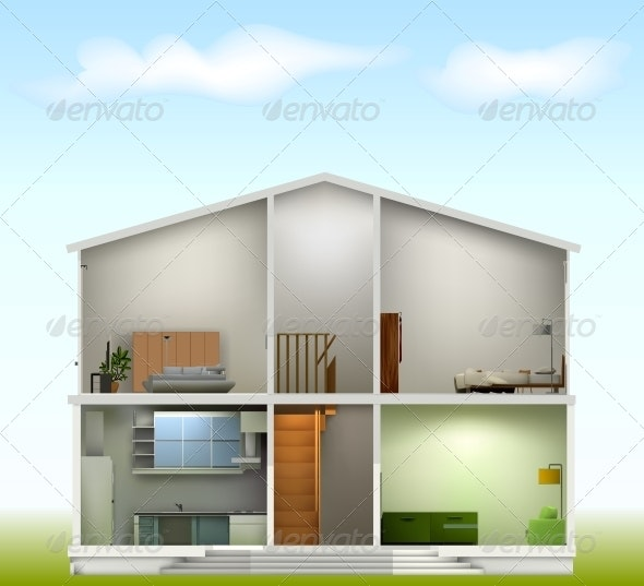 House Cut with Interiors - Buildings Objects