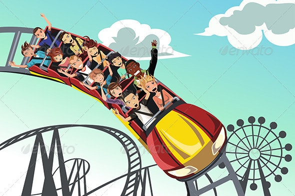 People Riding Roller Coaster - People Characters