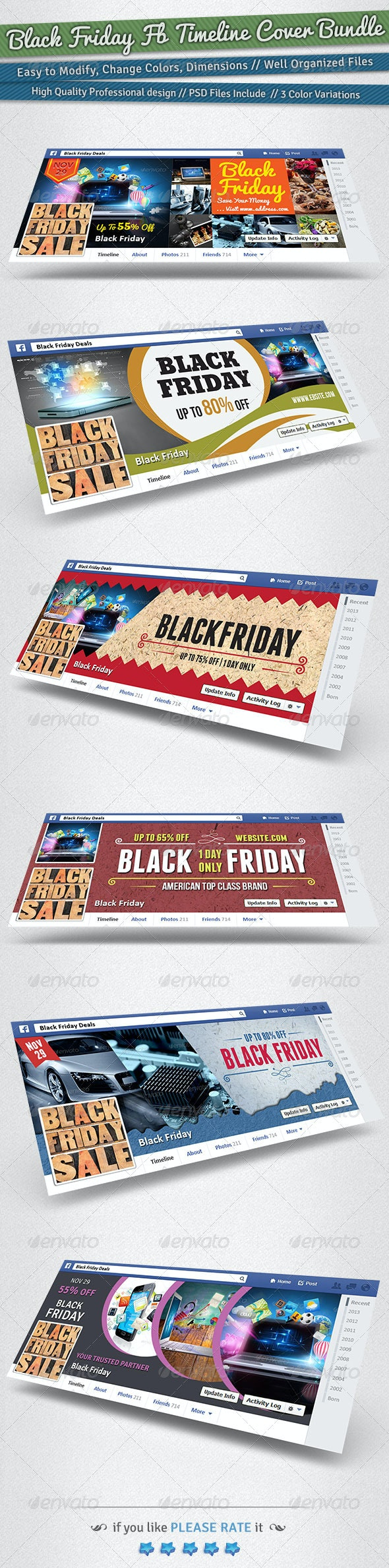 Black Friday / Promotion FB Timeline Cover Bundle - Facebook Timeline Covers Social Media