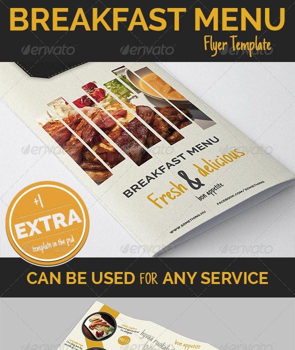 Breakfast Menu design + 1 Extra  - Food Menus Print Templates