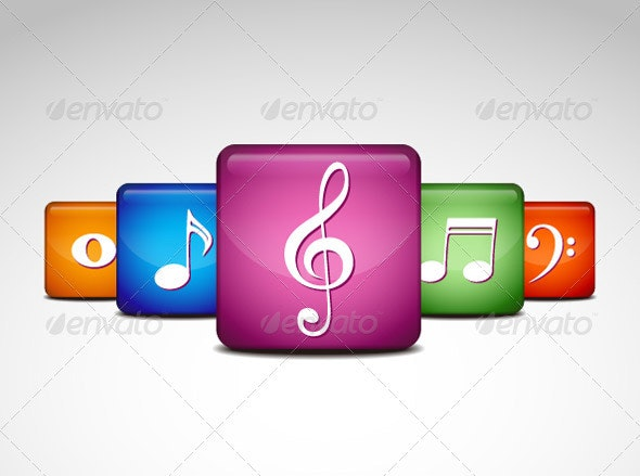 Musical Note Icons  - Web Technology