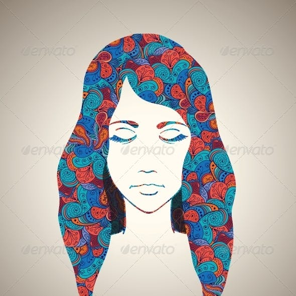 Abstract Girl Portrait with Floral Ornament