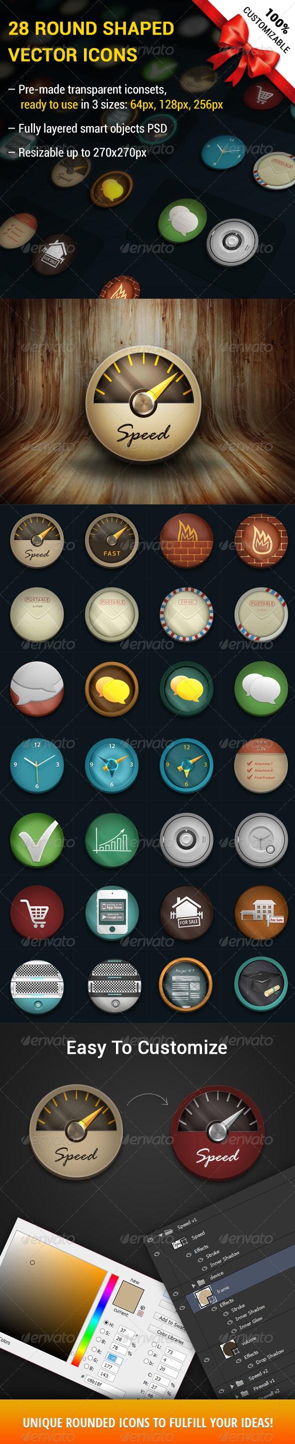 28 Round Shaped Customizable Icons - Web Icons