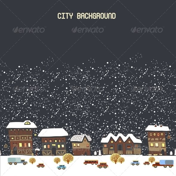 Vector Illustration with Winter City
