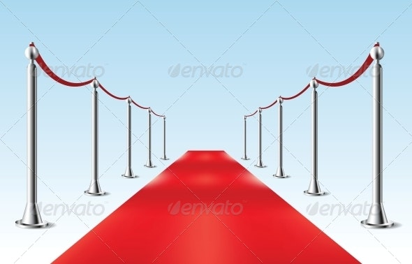 Red Carpet. Vector illustration. Isolated - Man-made Objects Objects