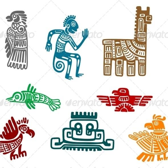 Aztec and Maya Ancient Drawings