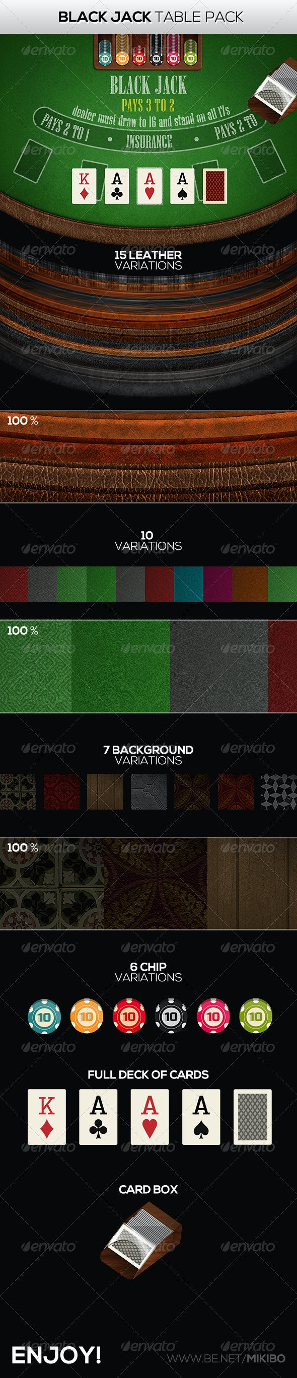 Black Jack Table Pack - Game Kits Game Assets