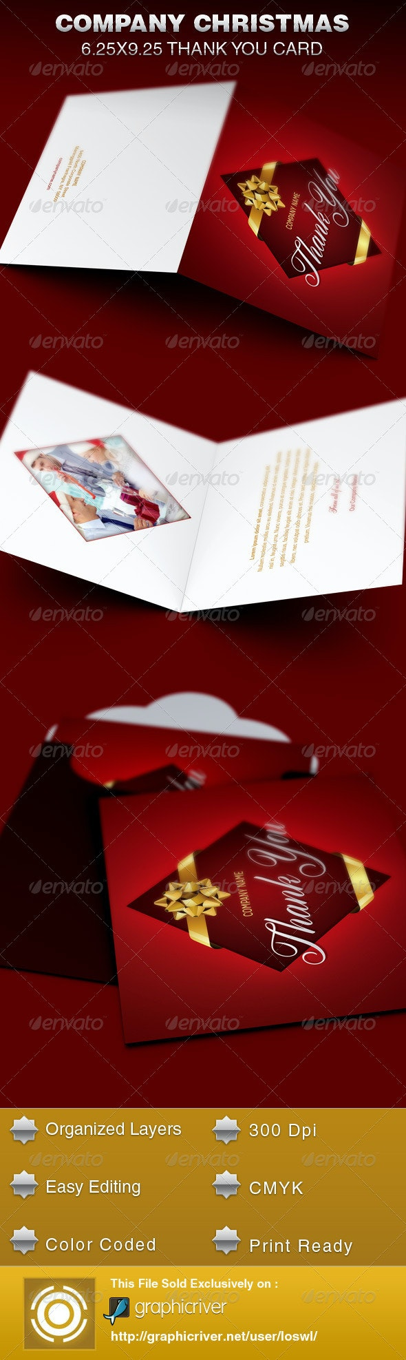 Company Christmas Thank You Card Template - Cards & Invites Print Templates