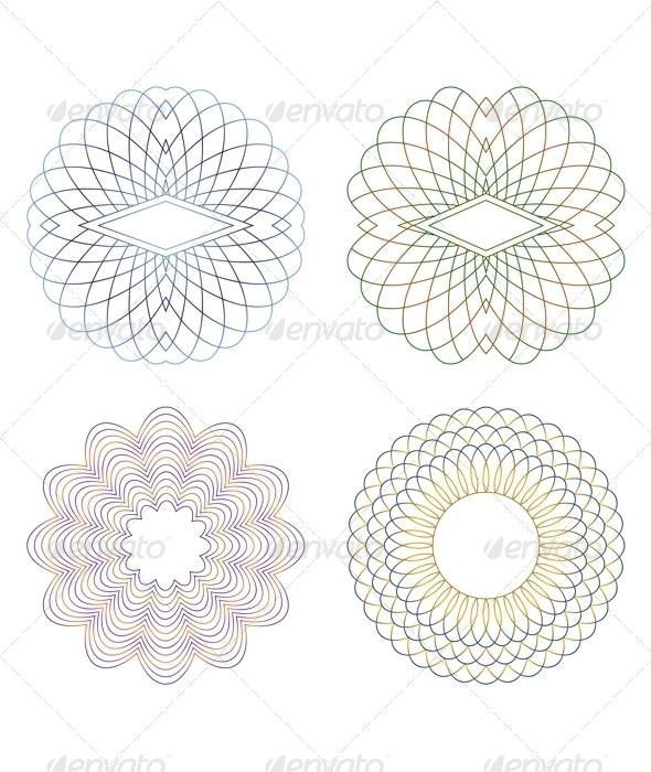 Guilloche Elements. - Borders Decorative