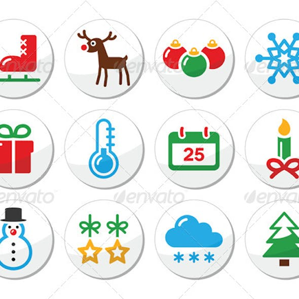 Christmas Winter Colorful Icons Set as Round Label