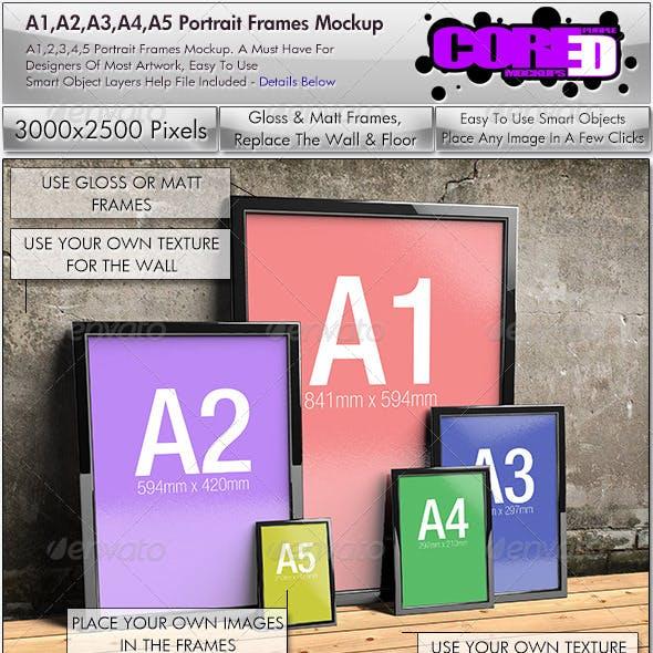 A1, A2, A3, A4, A5, Portrait Frames Mockup
