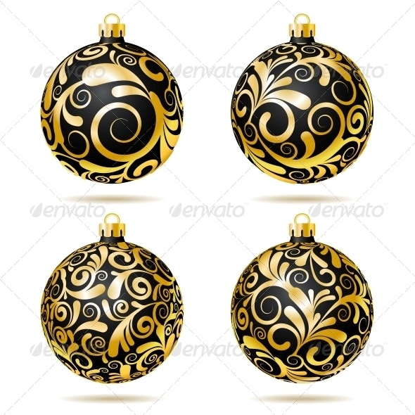Set Of Black And Gold Christmas Decorations By Tassel78 Graphicriver