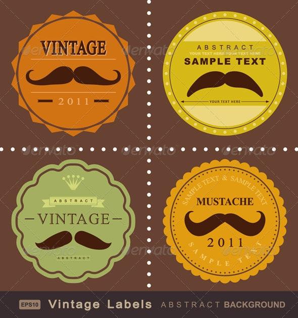 Mustache Vintage Fancy Labels  - Decorative Symbols Decorative