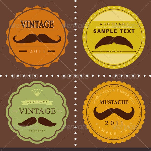 Mustache Vintage Fancy Labels