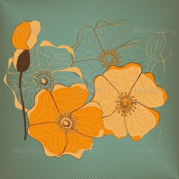Red Poppy Flowers Card