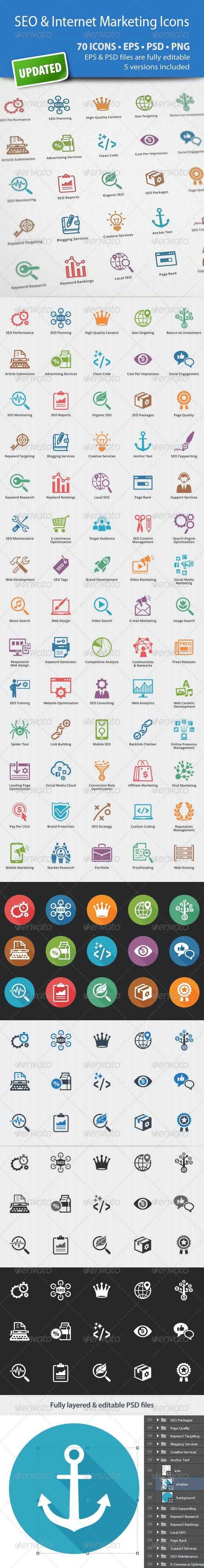 SEO & Internet Marketing Icons - Web Icons