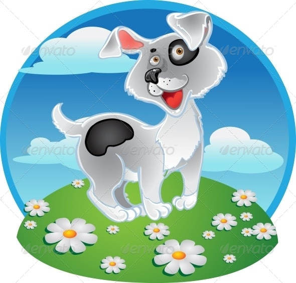 Fun White Dog on a Color Background - Animals Characters