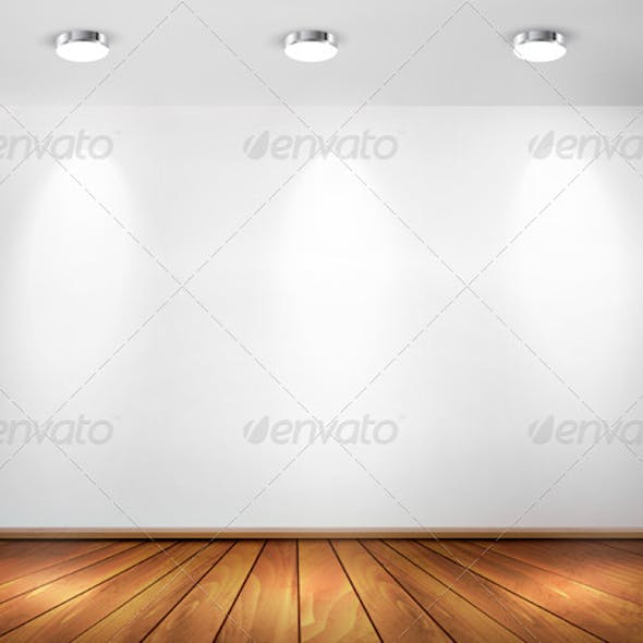 Wall with Spotlights and Wooden Floor