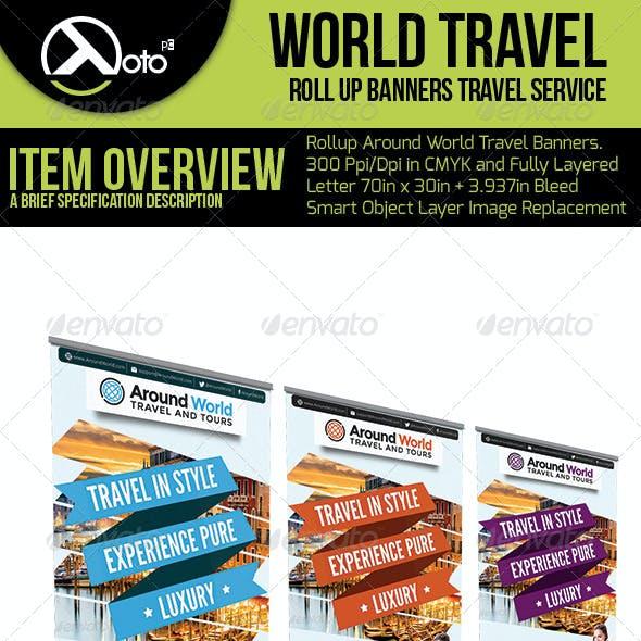Around World Travel Roll up Banner