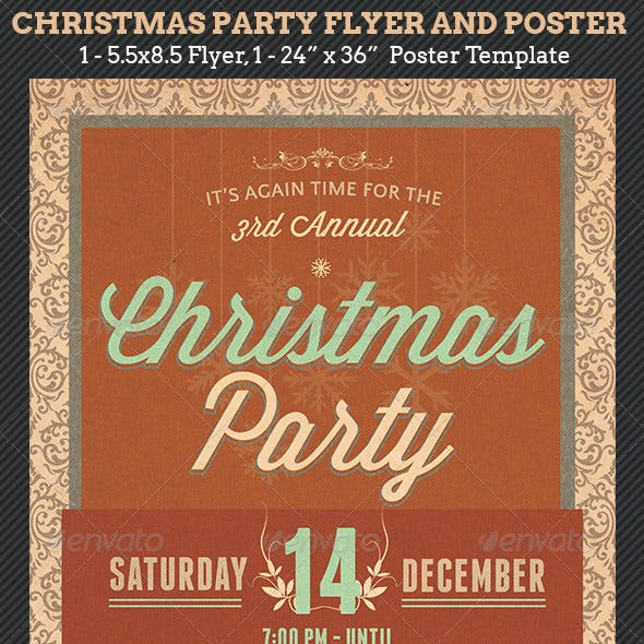 Christmas Party Flyer Poster Template
