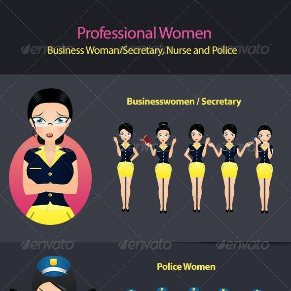 Business Woman / Secretary, Nurse and Police