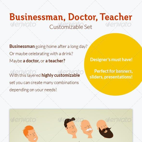 Businessman, Doctor, Teacher: Customizable Set
