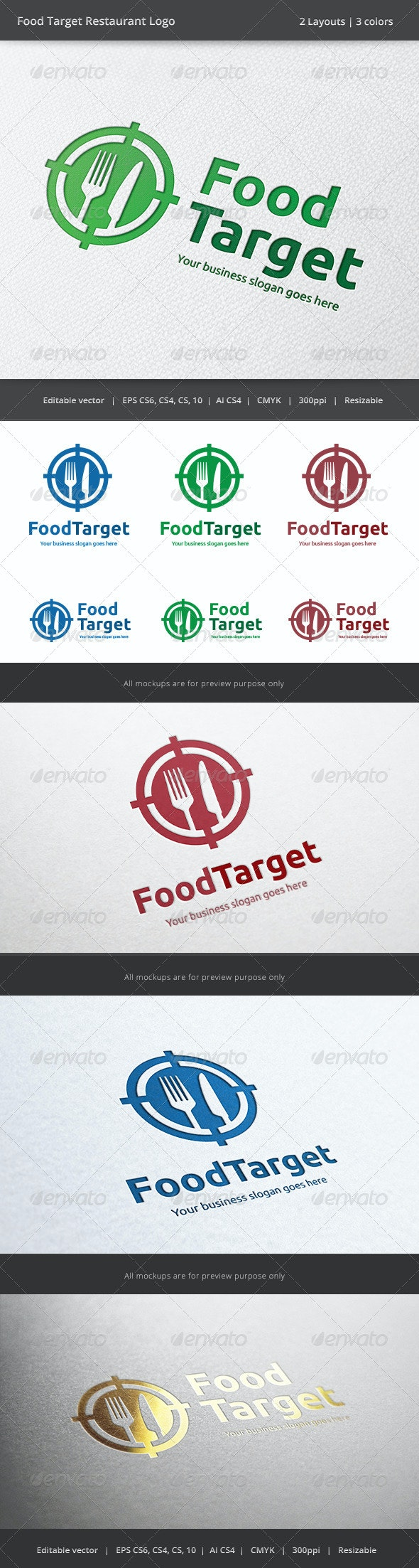 Food Target Restaurant Logo - Restaurant Logo Templates