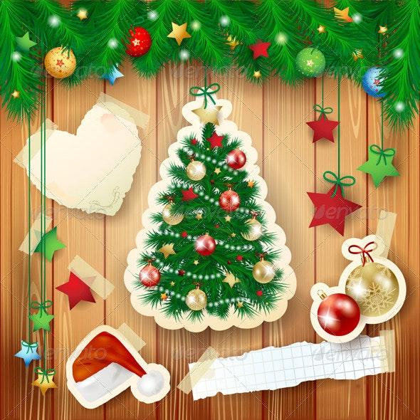 Christmas Illustration with Paper Tree  - Christmas Seasons/Holidays
