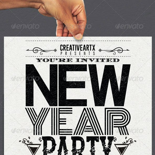 New Year Party Typography Flyer