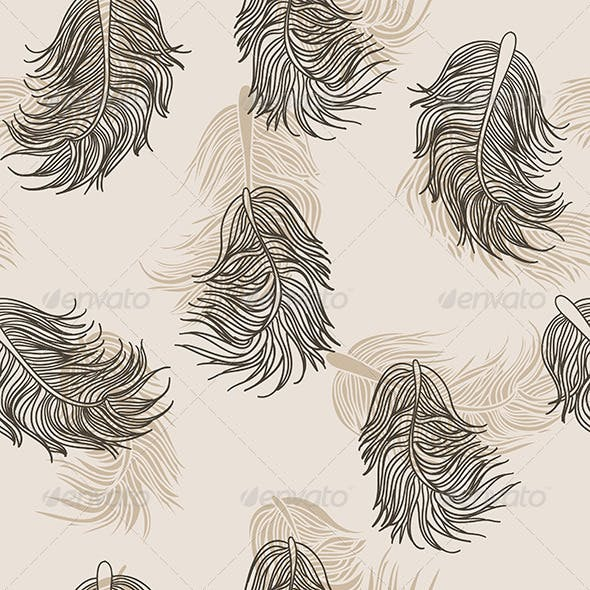 Beige Feathers Pattern
