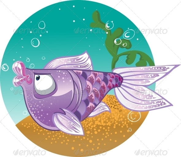 Light Violet Fish on Bacground - Animals Characters