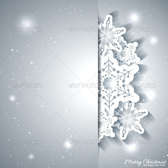 Christmas Greeting Card with Silver Background - Christmas Seasons/Holidays
