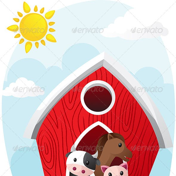 Animals in Barn