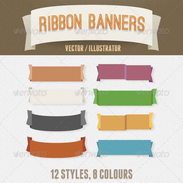 Vintage Vector Ribbon Banners