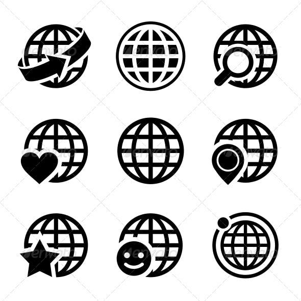 Globe Earth Vector Icons Set