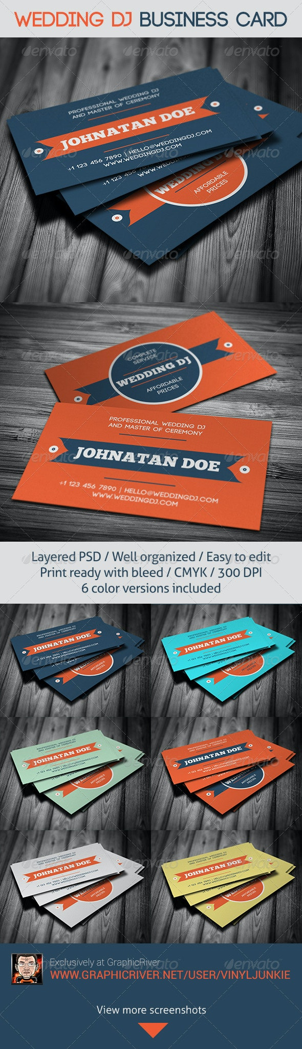 Wedding DJ Business Card - Industry Specific Business Cards