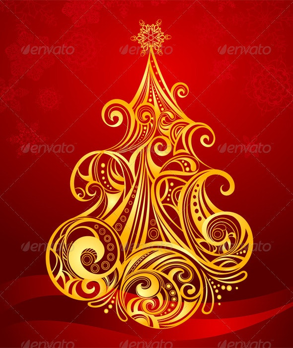 Golden Christmas Tree - Vectors