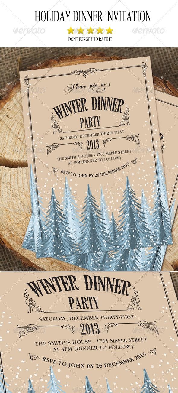 Holiday Dinner Invitation - Invitations Cards & Invites