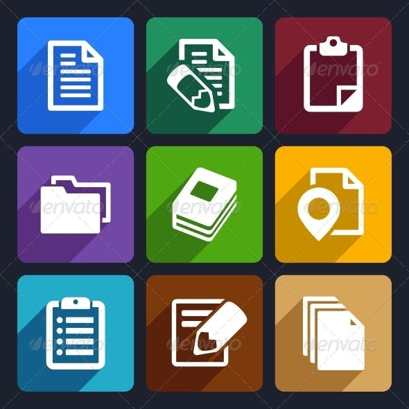 Documents and Folders Flat Icons Set 19